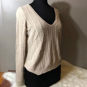 LOFT Beige V Neck Cable Knit Sweater